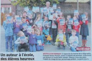 Article de presse sur visite d'un auteur à l'école