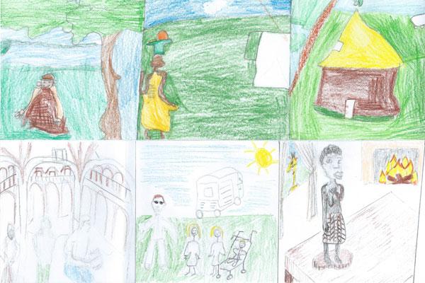 Dessin d'enfant sur le roman qui se passe en Afrique